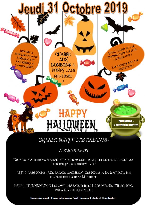 Affiche sur les activités d'Halloween au centre équestre de Montrabé
